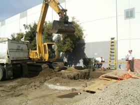 Excavation for an underground waste water pump vault station